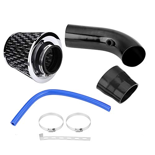 76mm 3 Zoll Universal Car Cold Air Intake Filter Aluminium Induktionsschlauch Rohr Kit(black carbon fiber) - Carbon Faser 3 Rohr