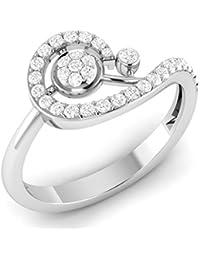 LOLLS 14K Rhodium Plated On Pure 925 Sterling Silver 0.60 TCW CZ Diamond Round Cut Bypass Ring [LOLLS_BAR3546SN_SL]
