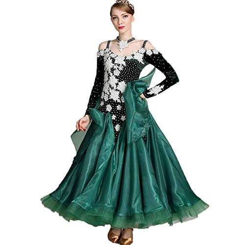 H&q gonna elegante della concorrenza di esposizione del vestito dal pannello esterno del ballroom del tessuto del velluto del flash del costume del costume di ballo moderno