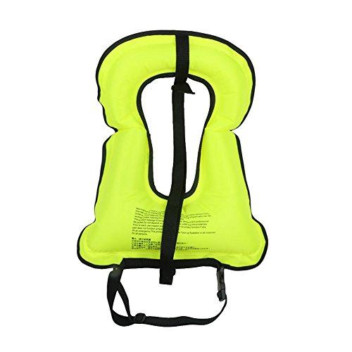 Adulte Unisexe Portatif gonflable sur toile Gilet de sauvetage avec tuba pour plongée en apnée Surfing Nautisme Natation de sécurité (Vert)