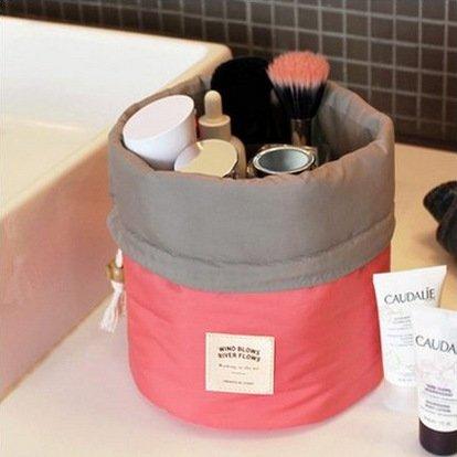 Die neue Weise Reise-Make-up Kosmetik-Tasche der Tasche der Tasche des Artikel Schminktisch antik Box zylindrisch 1pc pink Rot