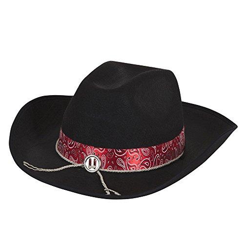 2Cowboy Hut schwarz filz mit Rot Band, eine Größe ()