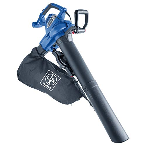 LUX-TOOLS E-LS-3000/45 Elektro-Laubsauger mit Blas- & Häckselfunktion inkl. 45 l Fangsack & Tragegurt | Kabelgebundener 3in1 Laubbläser und- sauger mit 3000 W Elektro-Motor & Zusatz-Handgriff