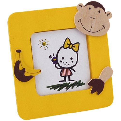 Lote de 30 Portafotos JUNGLA Amarillo en madera natural con divertidos diseños de animales. Para fotos de hasta 6,2x6,2cm