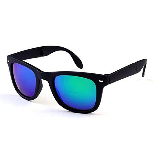 NoyoKere Unisex Faltbare Sonnenbrille mit Original Box Faltbrille mit Fall Transparent Sonnenbrille gefaltet Grün