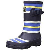 Joules Boys Welly Rain Boot, Multi/Blue Stripe, 8 Medium UK Little Kid (9 US)
