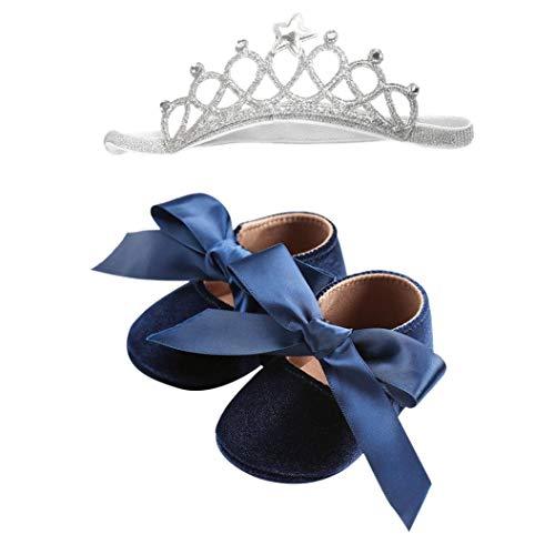 Dragon868 scarpe bambino bowknot grand + fascia con corona primi pass eleganti morbido suola scarpe cerimonia fotografia in 4 colore 0-18 mesi