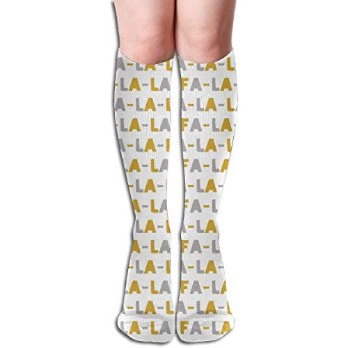 Women's Fancy Design Stocking FA Gold And Grey Holiday Multi Colorful Patterned Knee High Socks 19.6Inchs