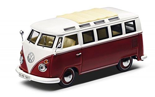 Original Volkswagen Modelo Auto T1Samba Bus rojo/Cream 1: 43