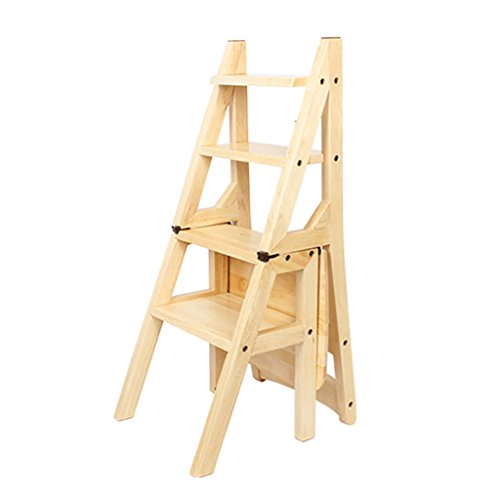 PENGFEI Pliable Stool Ladder Multifonction 4 Étapes Bois Massif 2 Couleurs, 38 * 46 * 90.5CM (Couleur : Couleur du bois)