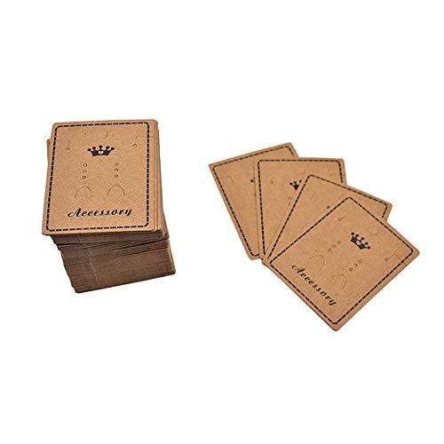 Vektenxi Schmuck Hängen Karten Kraftpapier Ohrring Halskette Speicherkarten Display Karten DIY Handwerk 100 Stücke Braun