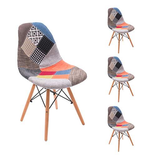 Homely - Silla de Comedor Cool tapizada en Tela Patchwork inspiración Silla...