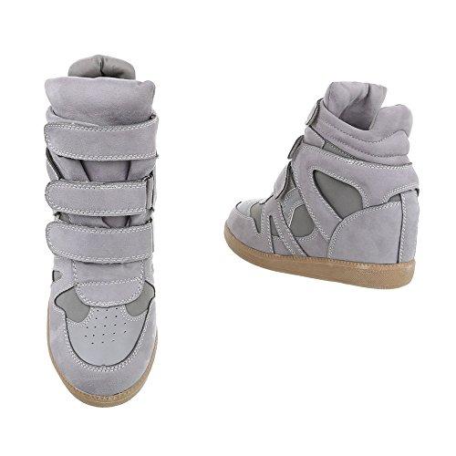 Scarpe da donna Sneaker zeppa Sneakers high Ital-Design gris clair