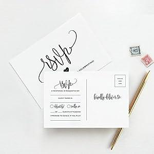 RSVP Postkarten für Hochzeit, 50 Stück Antwortkarten, perfekt für Brautpartys, Abendessen, Verlobungsfeier, Babyparty oder andere besondere Anlässe – von Bliss Paper Boutique