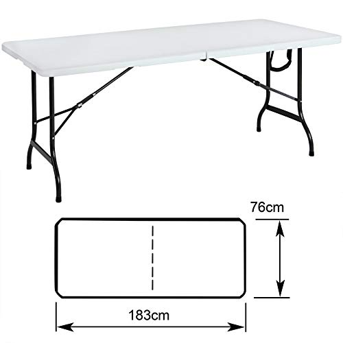 Tisch Klappbar Kunststoff.Tisch Klappbar Kunststoff Weiß 76 182 Cm Partytisch Buffettisch Klapptisch