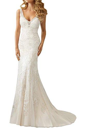 66b185fe1f4 Milano Bride Elfenbein elegant Traeger Meerejungfrau Rueckenfrei Damen  Hochzeitskleider Brautkleider Brautmode Hof-schleppe Neu-36-Elfenbein