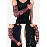 Tcare 1Pcs Compression Arm Sleeve, Sports Elbow Pad Crashproof [Non-Slip] Arm Guard Shooter Sleeve for Football Basketball : Red, XL