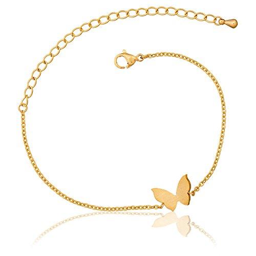 Selia Schmetterling Armband Butterfly Armreif minimalistische Optik Liebe handgemacht (Gold) (Armband Gold Schmetterling)
