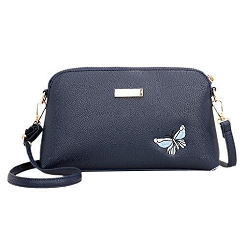 Longra Borsa a tracolla singola con chiusura a cerniera ricamata con cerniera a farfalla in pelle moda PU Blu