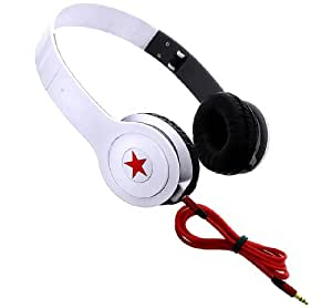 Wayzon White Portable Star Cystallized Stereo Headphones Headset Hands Free Earpiece Earphone Headband With AUX cable Lead For Sony Xperia tipo / dual ST21a2 / ST21i2 / ST21a / ST21i / Tapioca / L / M