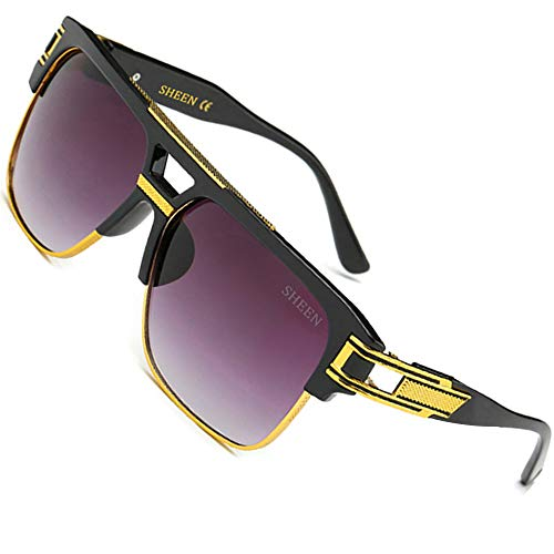SHEEN KELLY Polarisierte Große Oversized Sonnenbrille Metall Rahmen Square Spiegel herren Luxus Eyewear hälfte frame piloten Gold