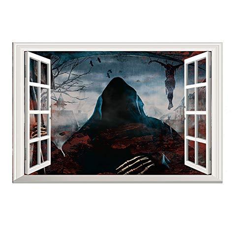 VUKUB Halloween 3D Selbstkleber Schreckliche Wandaufkleber Grim Reaper Advents Wand Abziehbilder Entfernen Wand Decal Papier Art Home Dekor
