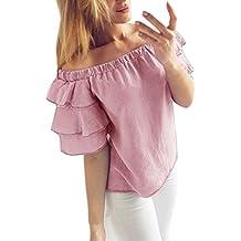 Blusas De Mujer Verano Manga Corta Sin Hombro con Volantes Camisas Elegantes Color Sólido Casual Moda