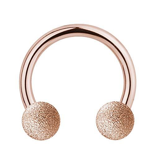 Treuheld   Hufeisen Piercing Rose-Gold - Diamant-Optik MATT - 10 Größen - Sand-gestrahlte Kugeln zum Schrauben - Edel-Stahl - Septum Helix Nase Ohr usw - CBR Barbell [01.] - 1.2 x 6 mm (Kugeln: 3mm)