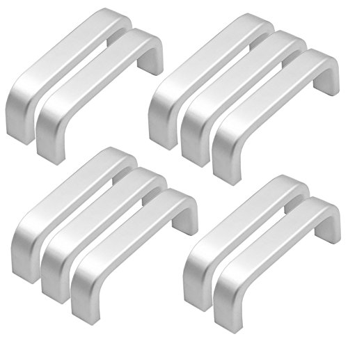 Qrity 10x mini maniglie per ante di mobili in alluminio, viti incluse (lunghezza:64mm, larghezza: 10mm)