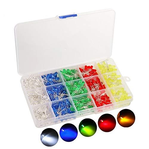 KINGSO 500 Stück 5mm LED Leuchtdioden Dioden set Elektronik komponenten rund 5 Farben(100er Jede Farbe) -