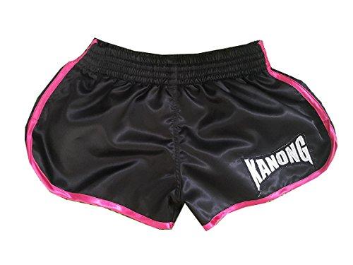 Kanong Damen Muay Thai Kick Boxing Boxen Hosen Shorts : KNSWO-402-Black Size S