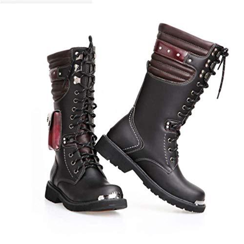 Mens Martin Boot Erwachsene Echtes Leder Wasserdichte Hohe Boot Armee Gothic Motorrad Steampunk Schuhe Motorrad Western Cowboy Stiefel Uniform Stiefel,45