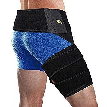 Oberschenkelbandage, Einstellbare Neopren Groin Stützbandage mit Taille und Oberschenkel Wickle Unterstützen Hilft Entlasten Leistenproblemen Sportverletzungen