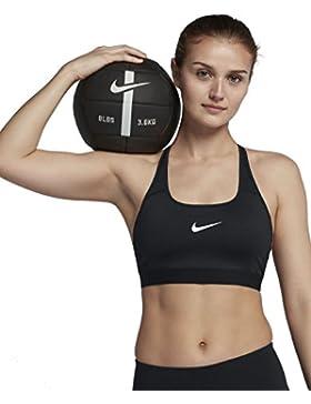 Nike Classic Strappy–Sujetador Deportivo con un Agarre Medio, Mujer, 888601-010, Blanco/Negro, Small