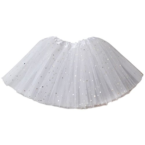 Ksnrang Damen Tüllrock Tütü Rock 3 Lagen Sterne Petticoat Tanzkleid Dehnbaren Mini Skater Tutu Rock Erwachsene Ballettrock Minirock für Party Halloween Kostüme (Weiß, 3 Lagen)