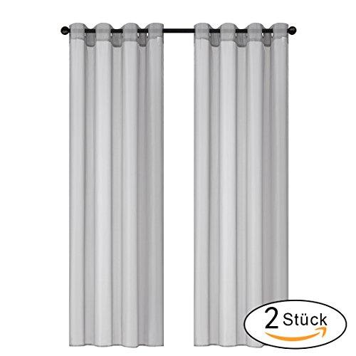 Gardine Vorhang Transparent Voile Gardinenschals vorhänge mit Ösen 2 Stück (140 x 245cm, Grau)