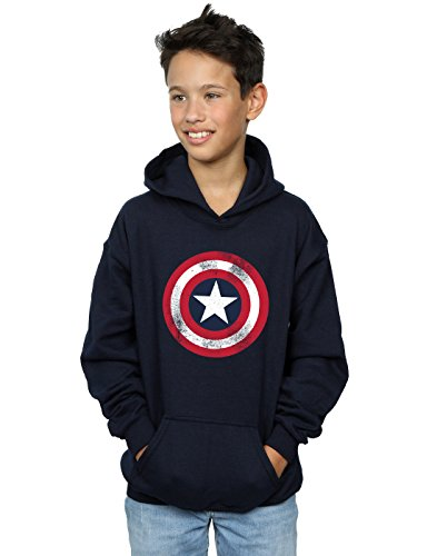 Marvel Jungen Captain America Distressed Shield Kapuzenpullover Navy Blau 12-13 Years (America-shield Kinder Captain)
