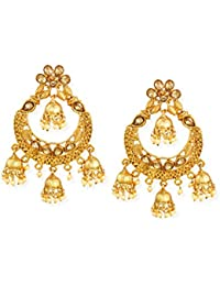 Zaveri Pearls Gold Tone Ethnic Earring With Dangling Jhumki Drops For Women-ZPFK6721