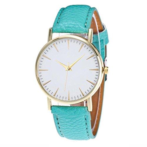 Preisvergleich Produktbild OdeJoy Mode Freizeit Frau Leder Quarz Uhren Damenuhren Einfach Armbanduhren Digitaluhren Rose Gold Armband Kinderuhren Mädchen Armbanduhr Vintage Watch Sportlich Uhren (Himmel Blau, 1 PC)