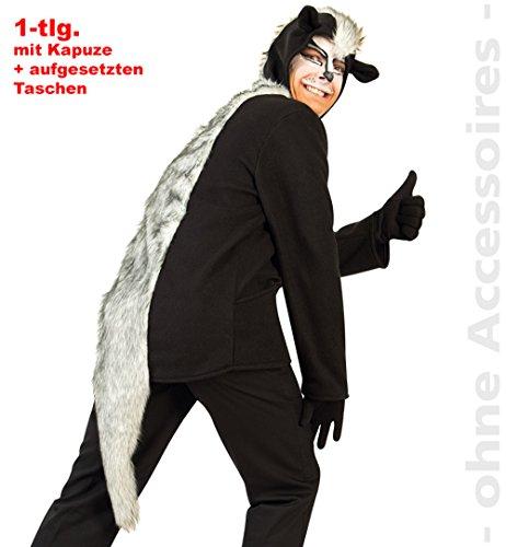 Party-Chic Skunk, Oberteil mit Kapuze + aufgesetzter Tasche, Größe XXL