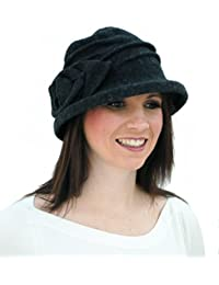 i-Smalls Women's Salford Wire Brim Wool Cloche Hat with Flower Detail