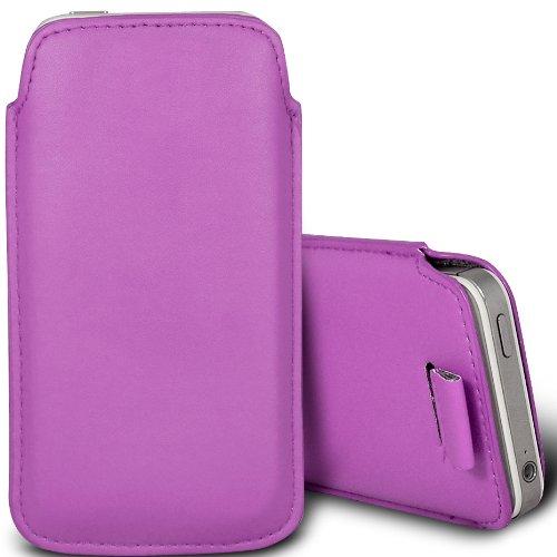 Brun/Brown - Alcatel Pixi 3 3.5 Housse deuxième peau et étui de protection en cuir PU de qualité supérieure à cordon avec stylet tactile par Gadget Giant® Dark Purple Pull tab