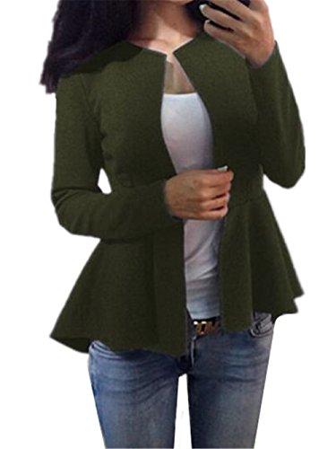 Gogofuture Semplice Donna Giacca Moda Manica Lunga Elegante Cappotto Slim Sweatshirt Classico Slim Outwear Puro Colore Green