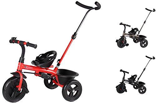 Clamaro 'Buttler Basic' 2in1 Kinderwagen Dreirad ab 1 Jahr mit lenkbarer Schubstange (Farbe: Rot), mit flüsterleisen Gummireifen, Klappbaren Fußrasten, Vor- und Rücklauf, Kinderdreirad durch Umbau für Jungen und Mädchen ab ca. 1 bis 5 Jahren geeignet