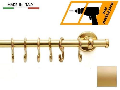 Cirillo Hakenleiste für die Küche, Hängeleiste Küchenreling aus Aluminium mit Haken (Gold, 1 Meter)