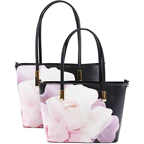 NEU Blumenmuster Schmetterling Aufdruck Kunstleder 2 in 1 Freizeit Shopper Schulter Handtasche - 2, Large 3
