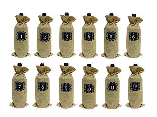 12 Stück Weinflaschen mit Kordelzug für Wein-Jalousie-Verkostungsbeutel plus 12 Nummern Aufkleber Bonus für Blind Probieren und Reisen, Hochzeit, Geburtstag, Einweihung und Dinner-Party