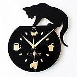 Actimn 3D Quarz Wanduhr Kletterwand Kaffee Cute Kitten Clock
