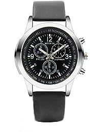 Tres Relojes de Ojo Reloj de Cuarzo para Hombre Reloj de cinturón de Cristal Azul Hombres
