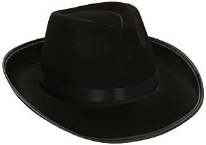 ADULT MENS GANGSTER HAT BLACK VELOUR 1920